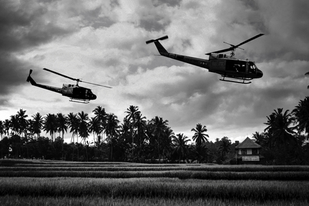 Vietnam War style B&W image circa 1968 of two helicopters flying low over the rice paddies of South Vietnam looking for Viet Cong insurgents during the Tet Offensive in 1968. (Artists Impression) Stock Photo