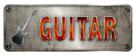 Fire glowing 3D-ish chromemetallic Guitar text on a realistic banner or metal plate image.