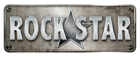 Realistic rock star text with large steel star on a  banner or metal plate image.