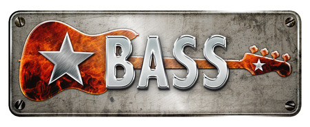 Chromemetallic BASS text, with guiatr background on a banner or metal plate image.