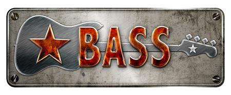 Fire style 3D Chromemetallic BASS text on a banner or metal plate image. Stock Photo