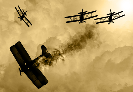 Vintage world war one biplanes and triplanes engaged in a dog fight  in a cloudy sky. One had success in shooting down the enemy plane. Original Illustration image. Stock Illustration - 67424069