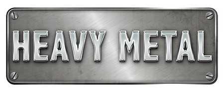 Realistic chrome heavy metal text on a banner or metal plate image. Stock Photo