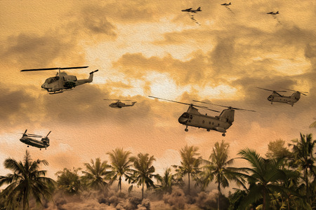 Oil Painting Style Image of helicopters over Vietnam during the war. (Artists Impression) Stock Photo