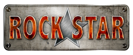 Flame text rock star banner or metalmetallic plate image.