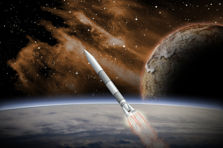 rendition: Alien Planet sci-fi scene with a rocket launching into space. Artists Rendition.