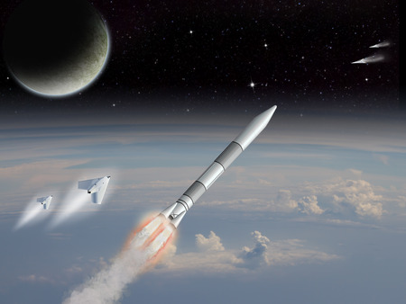 Alien Sci-fi fiction image of space craft launching on an alien planet with moons rising.