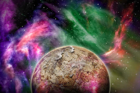 Alien Planet sci-fi space scene. Artists Rendition.