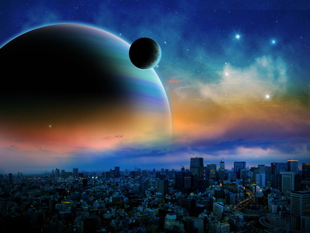 Sci-fi fantasy image of planets and space, with a city in the foreground.
