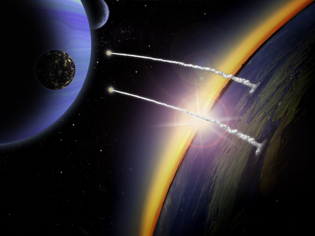 Two rockets launch on an alien planet. Sci-fi space scene