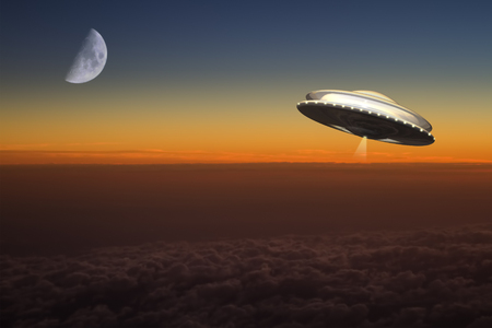 A UFO flies at high altitude over planet earth.