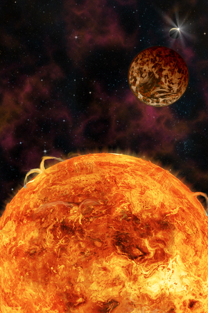 Sci-fi fantasy image of planets and space. Vertical orientation great for books & magazines. Stock Photo - 67374576