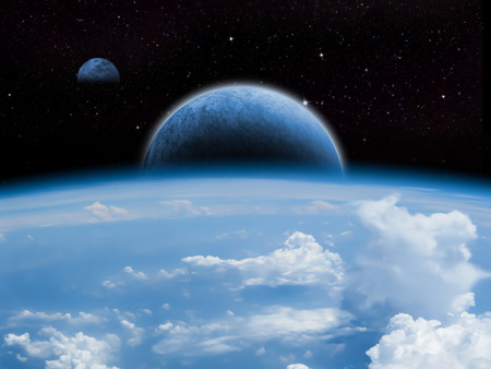 Sci-fi fantasy image of planets and space.