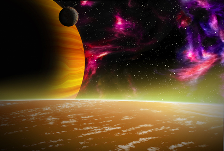 Alien Planet sci-fi scene. Artists Rendition.