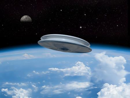 UFO の遠くに目に見える月と地球の大気を入力します。エイリアンの侵略!私たちの新しい君主を歓迎!