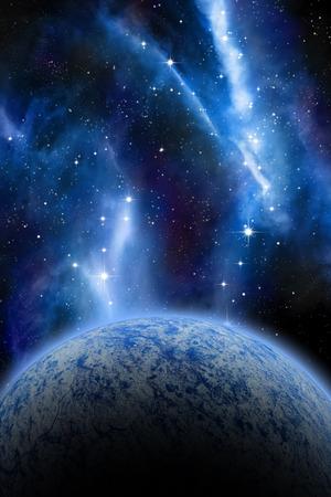 futuristic nature: Alien Planet sci-fi space scene. Artists Rendition.