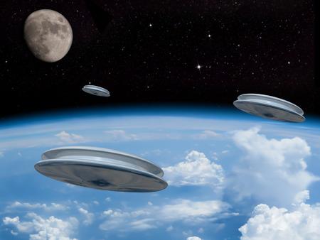 3 Ufo の距離で目に見える月と地球の大気を入力します。エイリアンの侵略!私たちの新しい君主を歓迎!
