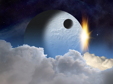Alien planet at sunrise or sunset with a moon in orbit. Sci-fi Fantasy artwork.