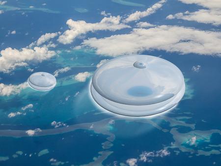 地球のサンゴ礁をかなりの速さで 2 Ufo 飛ぶ。これはエイリアンの侵略ですか。