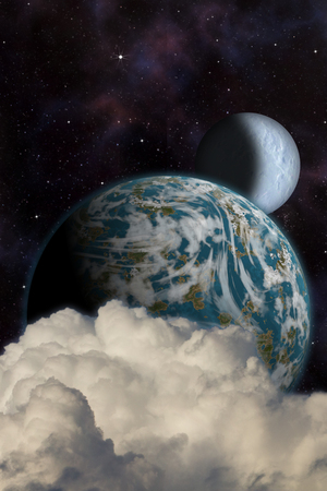 futuristic nature: Sci-fi fantasy image of planets and space. Vertical orientation great for books & magazines.