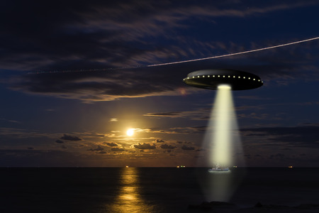 A UFO abducintg a fishing boat at sea with a full moon in the background Stock Photo