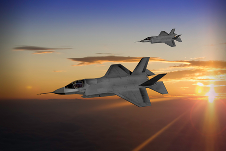 Modern advanced stealth fighters in formation at sunset or sunrise. (Computer image, artists impression)