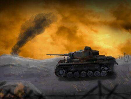 A German panzer tank crosses the battleground. (Computer Illustration)