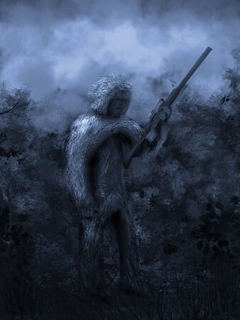 Digital painting of a sniper covered in his yowee suit, holding a rifle.
