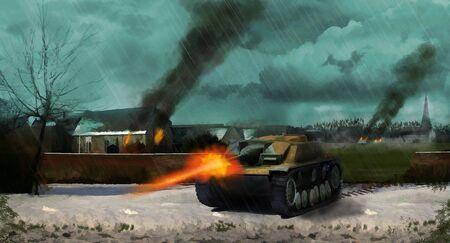 A German panzer tank crosses the battleground through a village during world war 2. (Computer Illustration)