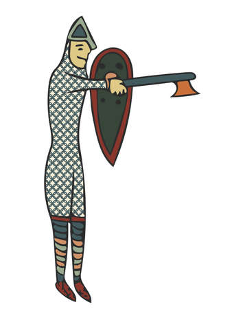 Medieval Style Artwork of Norman soldier. Circa 11th Century Styles of image.