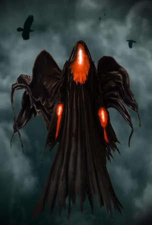 Illustration of a Grim Reaper or fantasy evil spirit. Digital painting. 版權商用圖片
