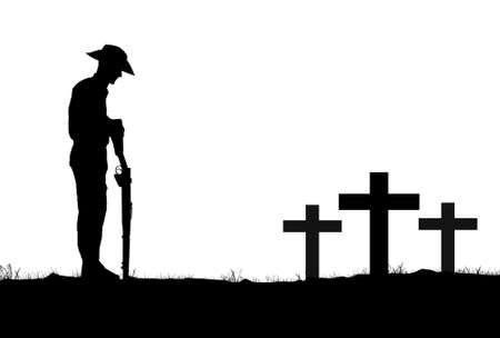 Silhouette of Australian ANZAC soldiers against the sky.(Artist drawn silhouette)
