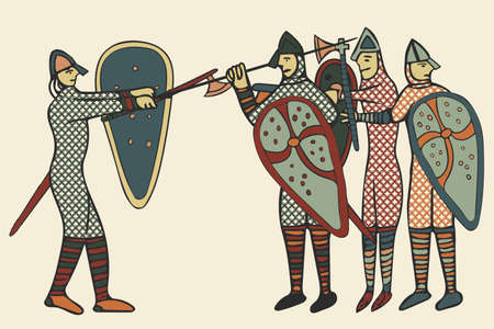 Norman Soldiers done in a 'medieval style' of illustration - circa the 11th Century in England (Computer artwork) Stock Photo