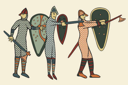 Norman Soldiers done in a 'medieval style' of illustration - circa the 11th Century in England (Computer artwork) 版權商用圖片