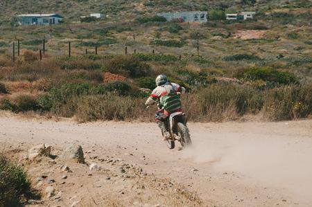 dirt bike: Motorcyclist Riding Dirt Bike in Mexico