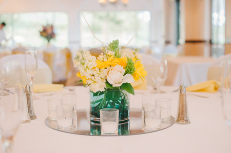 Yellow  White Wedding Reception Centerpiece