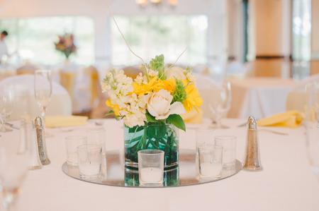 centerpiece: Yellow  White Wedding Reception Centerpiece