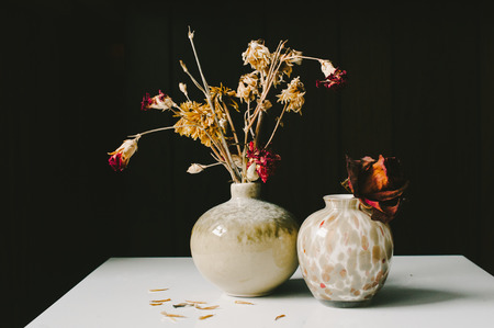 dried flowers: Dried Flowers in Earthy Green Vases