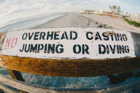 No Overhead Casting Jumping or Diving Sign Stock Photo
