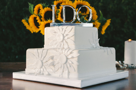 tiered: White Square Wedding Cake with I Do Topper