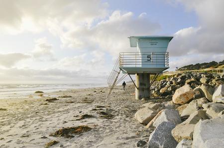Del Mar Beach Blue Lifeguard Shack