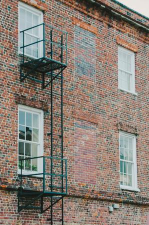 fire bricks: Fire Escape Ladder on Brick Building