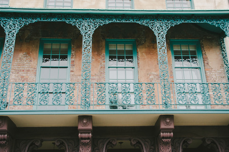 Turquoise Charleston Historic Balcony Stock Photo
