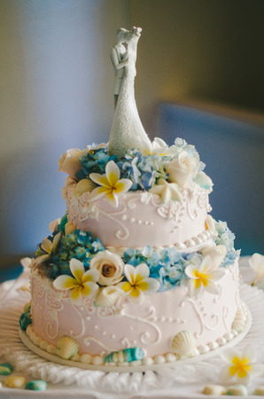 Beautiful Blue  Yellow Floral Wedding Cake
