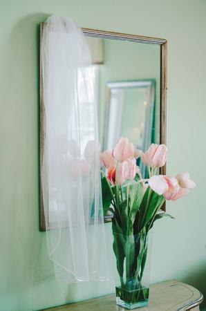 Pink Tulips  Bridal Veil