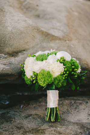 White  Green Wedding Bouquet Stock Photo