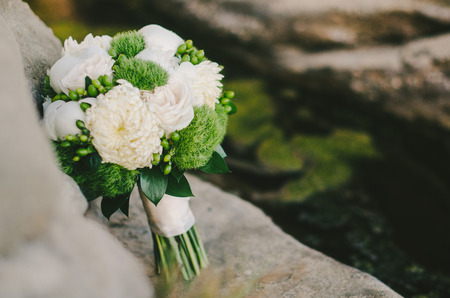 White  Green Mum Bridal Bouquet