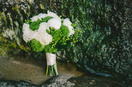 Green  White Mum Bridal Bouquet Stock Photo