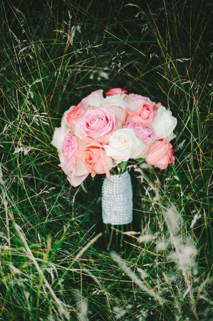 Pink  White Rose Bridal Bouquet