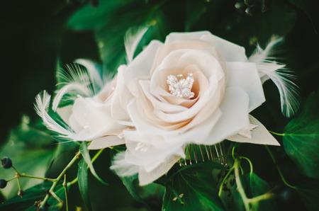 bridal hair: Rose  Feather Bridal Hair Piece
